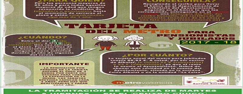 RENOVACIÓ I ADQUISICIÓ DE LA TARGETA DEL METRO DE JUBILATS I PENSIONISTES DE FGV - DES DEL 3 D'OCTUBRE AL CENTRE CÍVIC (REGIDORIA DE SERVEIS SOCIALS)