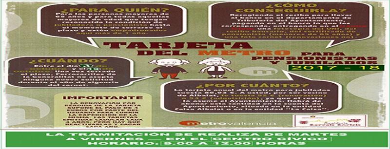 RENOVACIÓN Y ADQUISICIÓN DE LA TARJETA DEL METRO DE JUBILADOS Y PENSIONISTAS DE FGV - DESDE EL 3 DE OCTUBRE EN EL CENTRO CÍVICO (CONCEJALÍA DE SERVICIOS SOCIALES)