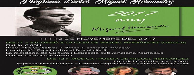 ACTES AMB MOTIU DE L'ANY MIGUEL HERNÁNDEZ - 11 I 12 DE NOVEMBRE (REGIDORIA DE CULTURA I EDUCACIÓ)